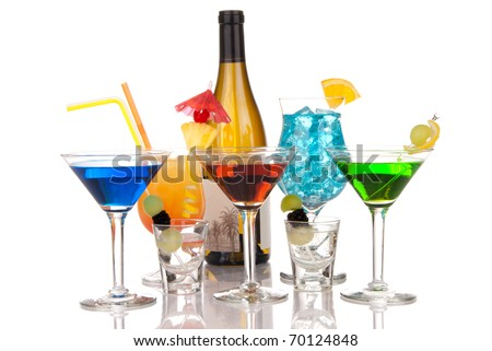 Popular cocktails composition with alcohol. Many types of cocktail beverages Blue hawaiian, Sex on the beach, tropical  Martini, shot of tequila; margarita and bottle of wine on a white background - stock photo