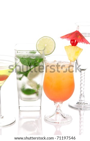 Popular cocktails with alcohol. Four cocktail drinks  Mojito; tropical Martini, Tequila sunrise, champagne garnished with lime, cherry, pineapple isolated on a white background - stock photo