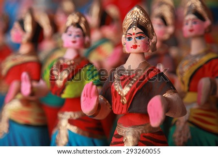 Popular dancing dolls of Tanjore.Selectively focused. - stock photo