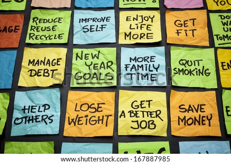 popular new year goals or resolutions - colorful sticky notes on a blackboard - stock photo