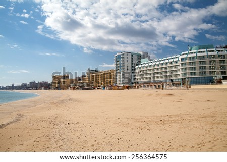 Popular summer resort Golden Sands near Varna, Bulgaria - stock photo