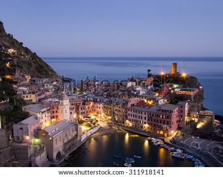 Popular tourist destination. Evening view of Vernazza village, Cinque Terre, Italy. Note no recognisable people or logos. - stock photo