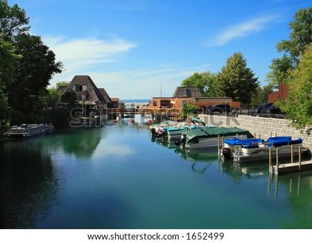 Popular vacation spot on Lake Michigan- Leland - stock photo