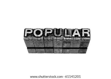POPULAR written in metallic letters on a white background - stock photo