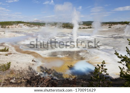 Porcelain Basin, Yellowstone National Park - stock photo
