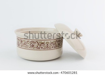 Porcelain bowl cup on white background
