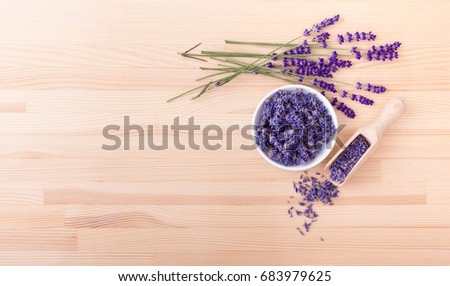 Porcelain bowl with dried  lavender flowers and bouquet with lavender