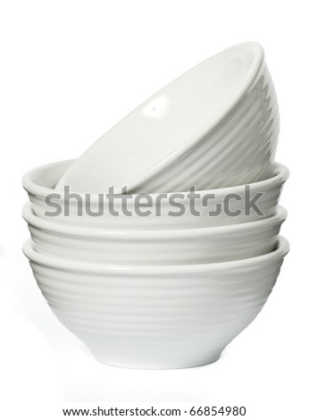 Porcelain bowls on a seamless white background
