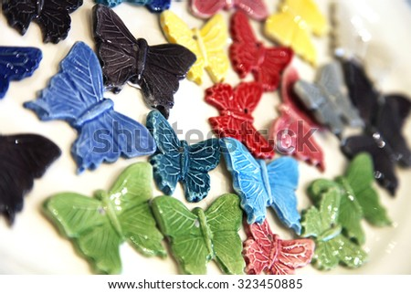 Porcelain butterflies  - stock photo