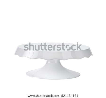 porcelain cake stand isolated on white 3d rendering with clipping path