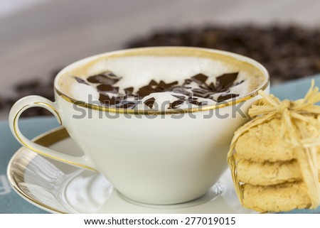 Porcelain cup and saucer of delicious freshly made aromatic cappuccino topped with milky foam and chocolate flakes served with crunchy golden cookies - stock photo