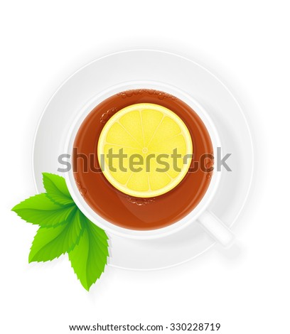 porcelain cup of tea with lemon and mint illustration isolated on white background