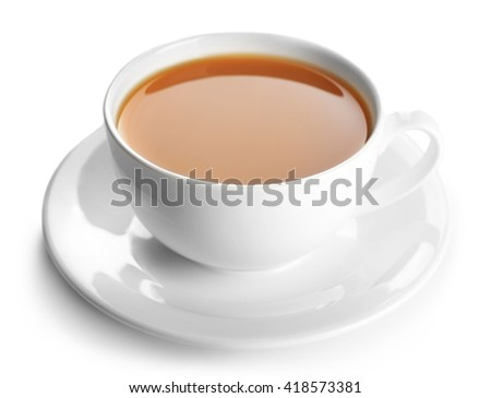 Porcelain cup of tea with milk isolated on white background - stock photo