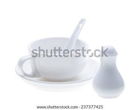 porcelain isolated on white background - stock photo