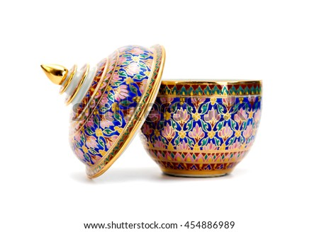 porcelain on White background,Benjarong