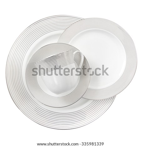 porcelain plate isolated on a white background - stock photo
