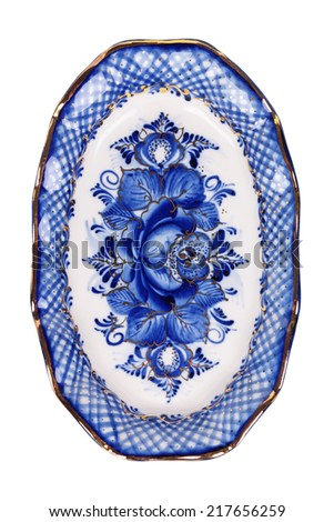 Porcelain platter painted under Gzhel with the traditional pattern, isolated on white background - stock photo
