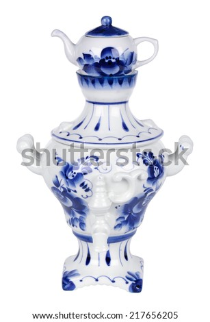 Porcelain samovar painted under Gzhel with the traditional pattern, isolated on white background - stock photo