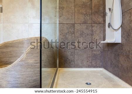 Porcelain shower base in a bathroom, horizontal - stock photo