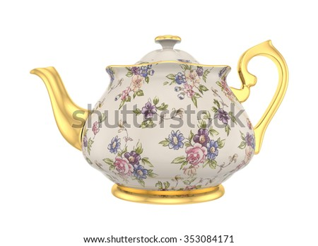Porcelain teapot with a pattern of roses and gold in classic style isolated on white - stock photo