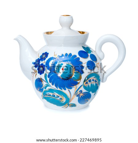 porcelain teapots, Gzhel, blue color, white background  - stock photo