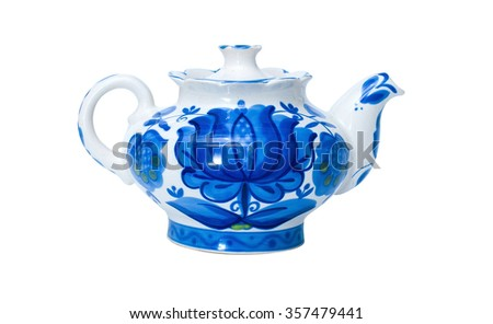 porcelain teapots, Gzhel, blue color white background