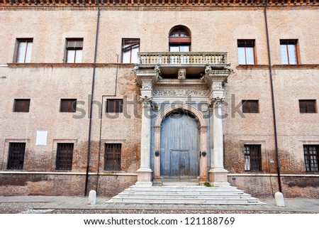 porch of palace Prosperi-Sacrati in Ferrara, Italy - stock photo