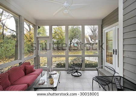 Porch with view to patio