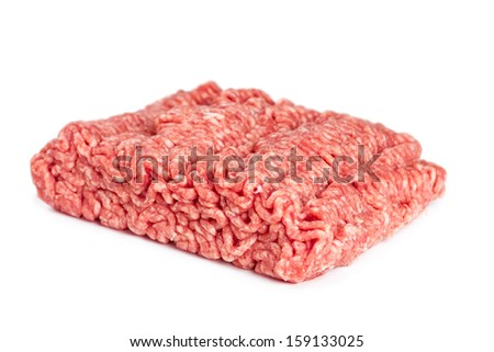 Pork and beef mince isolated on white background - stock photo