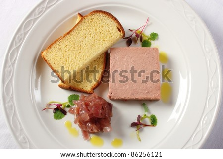 Pork and chicken liver pate served with French toast and caramelized onion chutney - stock photo