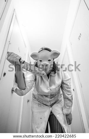 Pork attacking with knife storage, fear - stock photo