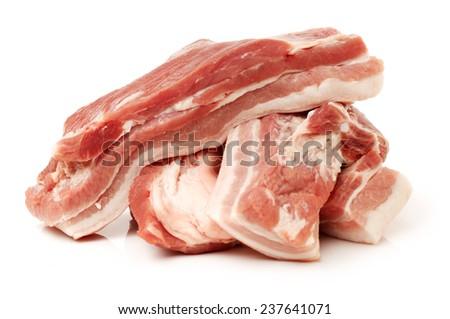 Pork belly on white background  - stock photo