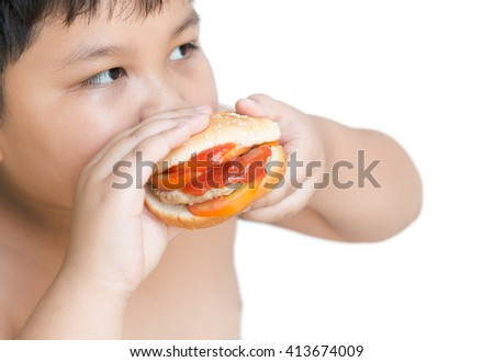 pork cheese Hamburger in obese fat boy hand isolated on white - stock photo