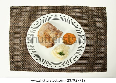 Pork chop grilled  sweet potato and mash potato - stock photo