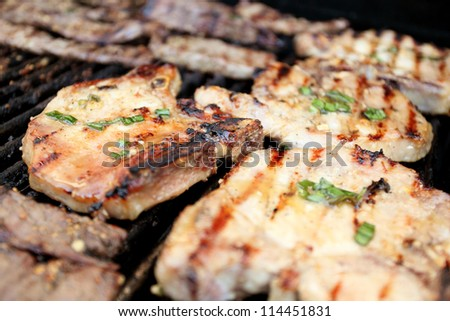 Pork chops and beef strips cooking on the grill. - stock photo