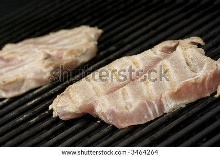 Pork chops on the grill.  Grill marks and close up detail
