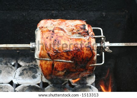 Pork cooking on grill - stock photo