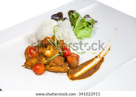 Pork Curry Rice isolated on white background (with clipping path)