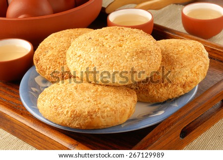 Pork Floss Pastry for tea time - stock photo
