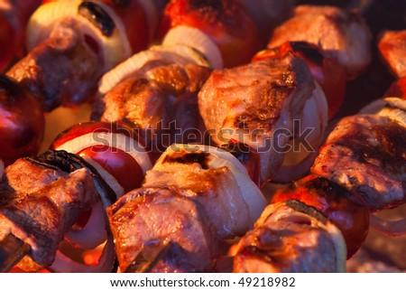 pork kebab with onion on the mangal - stock photo