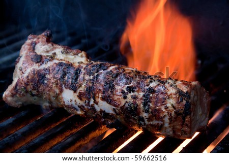 Pork Loin on Barbecue Fire