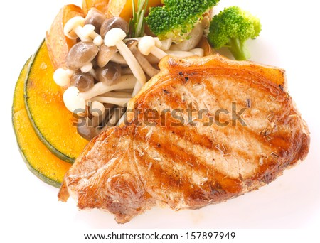 pork loin steak with grilled vegetable
