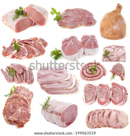 pork meat in front of white background