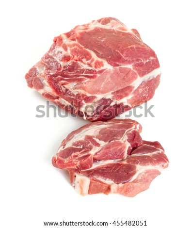 pork neck chops isolated on white