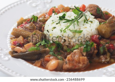 Pork, okra and vegetable gumbo, classic cajun cuisine - stock photo