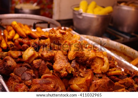 Pork pieces fried on oil, traditional plate of Ecuador. - stock photo