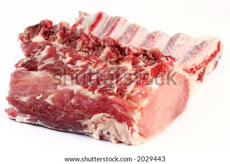 Pork rib and meat on white background - stock photo