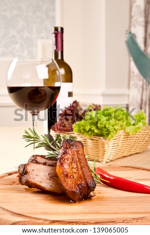 Pork ribs and wine - stock photo