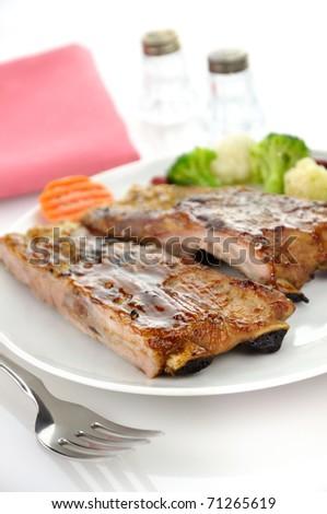pork ribs dinner - stock photo