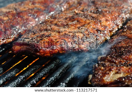 Pork Ribs on the Grill - stock photo